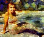 Pretty nude selkie girl or seal mermaid by Cyberalbi