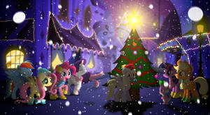 The First Snow - MLP Mane 6 Christmas Wallpaper