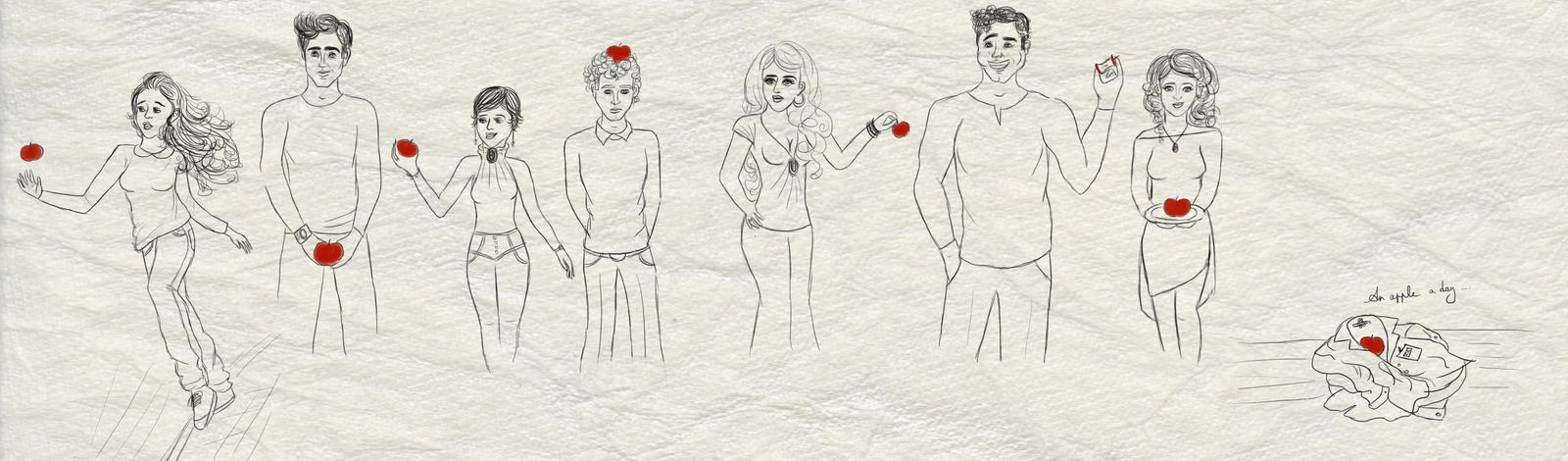 The Cullens hold apples WIP by TheSearchingEyes