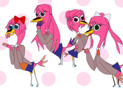 The dokis as flamingos
