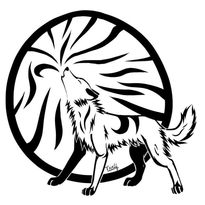 Tribal Howling wolf by Tsukihowl on DeviantArt