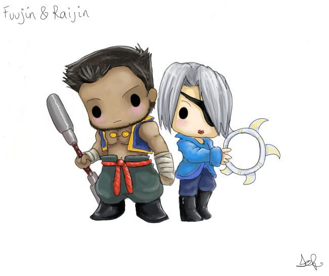 Chibi Fuujin and Raijin by capsicum