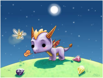 Chibi Sparx and Spyro by capsicum