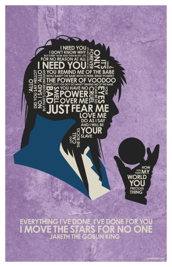 New David Bowie - Labyrith Quote Poster by outnerdme on ... Labyrinth Movie Quotes You Have No Power Over Me