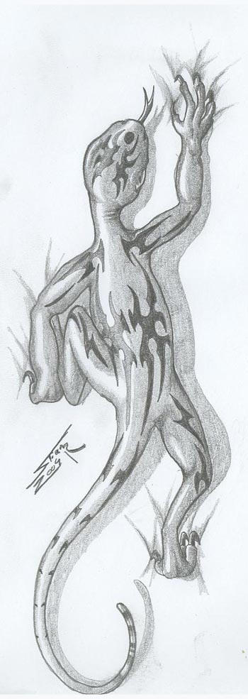 Tattoo sketch: Tribal Lizard by ~AlphonseCapone on deviantART
