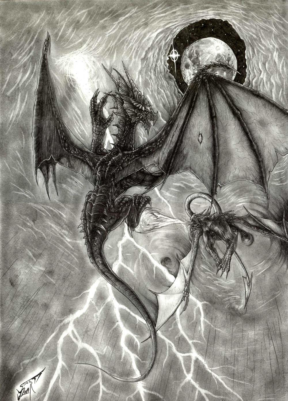 Pencil Drawings Of Dragons Fighting Fighting Dragons by Al...
