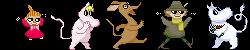Moomin characters dancing