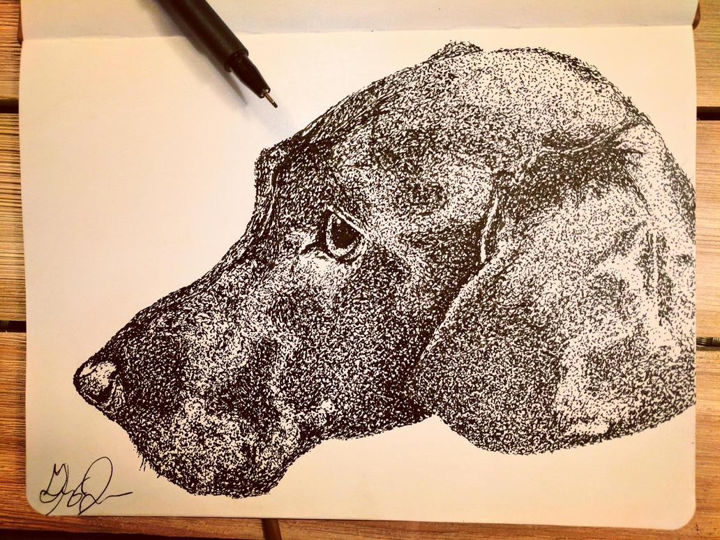 Black Lab, low-key pointillism! by Uj-Ju