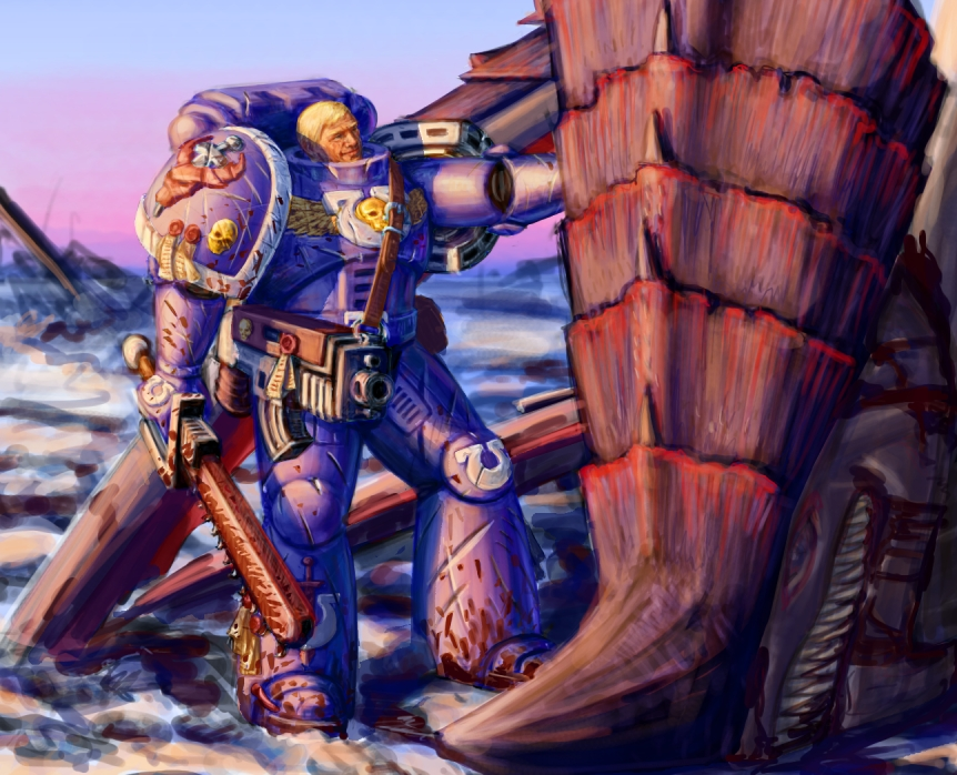 [W40K] Collection d'images : les Xenos - Page 2 Ultramarine_Tyranid_Hunter_by_LynxC