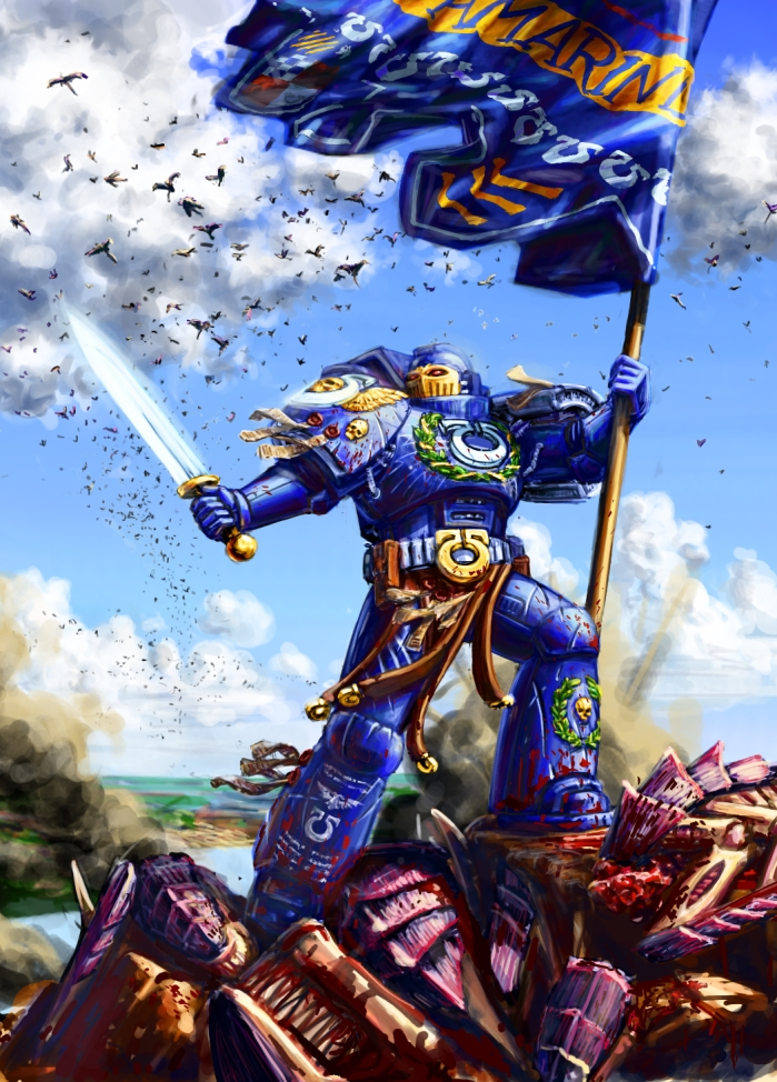 Ultramarine Banner Bearer by LynxC