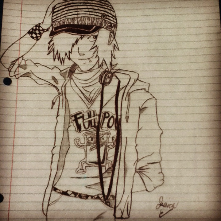 Anime scene emo guy drawing by the dark whispers