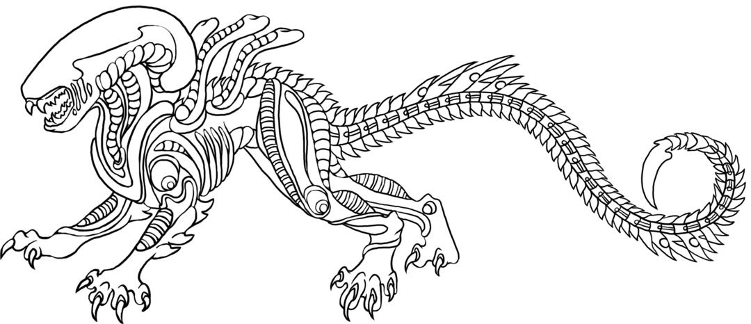 Xenomorph lineart by thesquishy0ne on deviantart Gremlins 2 Coloring Pages Xenomorph King Coloring Pages Xenomorph Gorilla