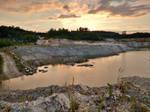 Quartzite quarry at sunset