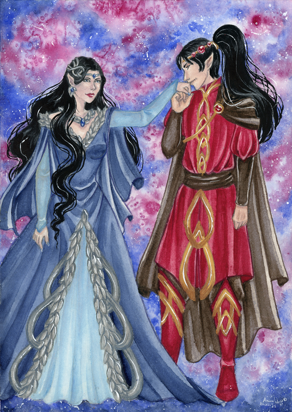 Commission: Luthien Tinuviel and Morgoth by ArunaWolf