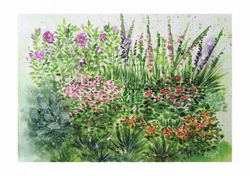 Watercolor garden by ArunaWolf