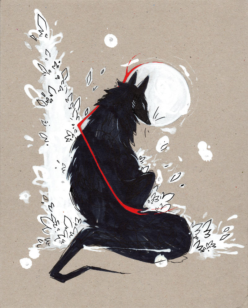 Black Wolf RIBBONS by RubisFirenos