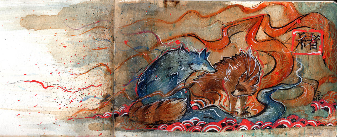Japanese Painting - Tiwolf by RubisFirenos