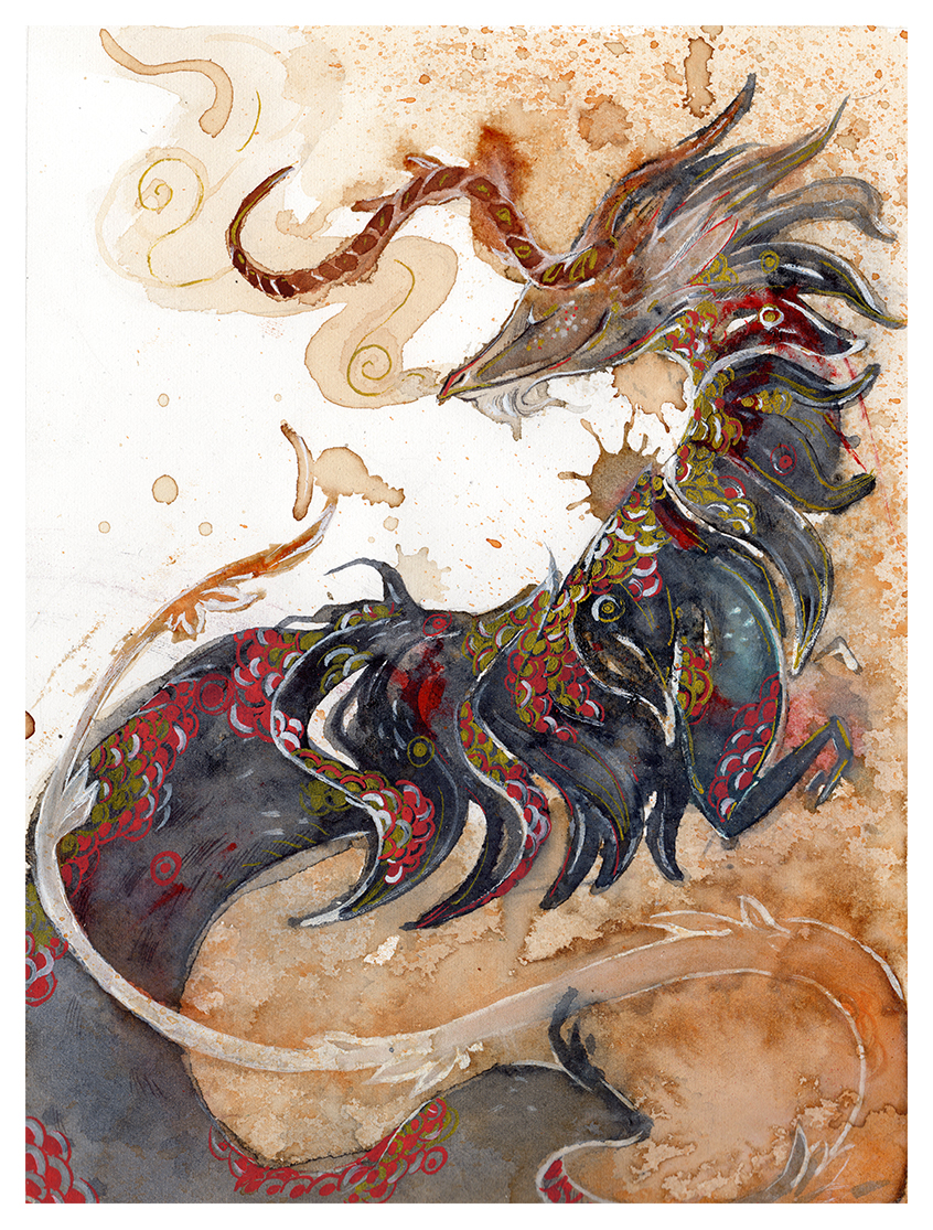 Dragon o ka fee by rubisfirenos on deviantart for Japanese dragon painting