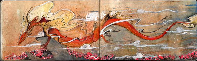 Japanese Painting - Aurora Chinese Dragon