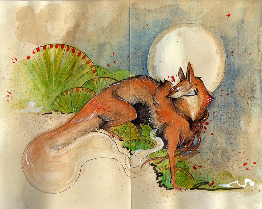 Japanese Painting Fox by RubisFirenos