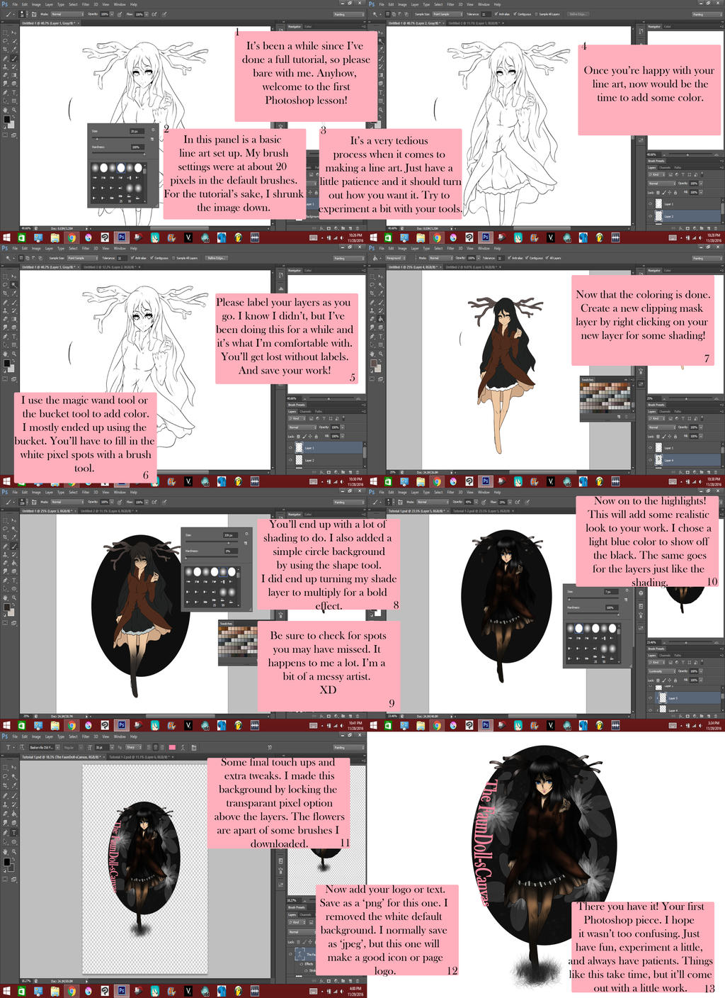 How to color your art in photoshop -  Photoshop 101 Tutorial 1 Line Art And Color By Thefaundoll Scanvas