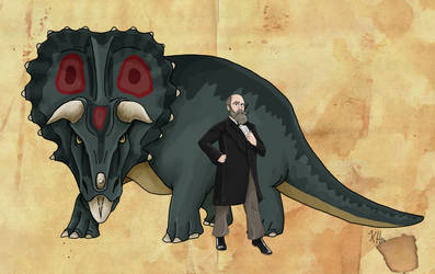 Othniel C. Marsh and his Triceratops by Pelycosaur24
