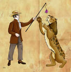 Wilhelm Lund and his Smilodon