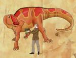 Lawrence Lambe and his Edmontosaurus