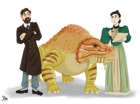 Vladimir and Anna Amalizky and their Scutosaurus