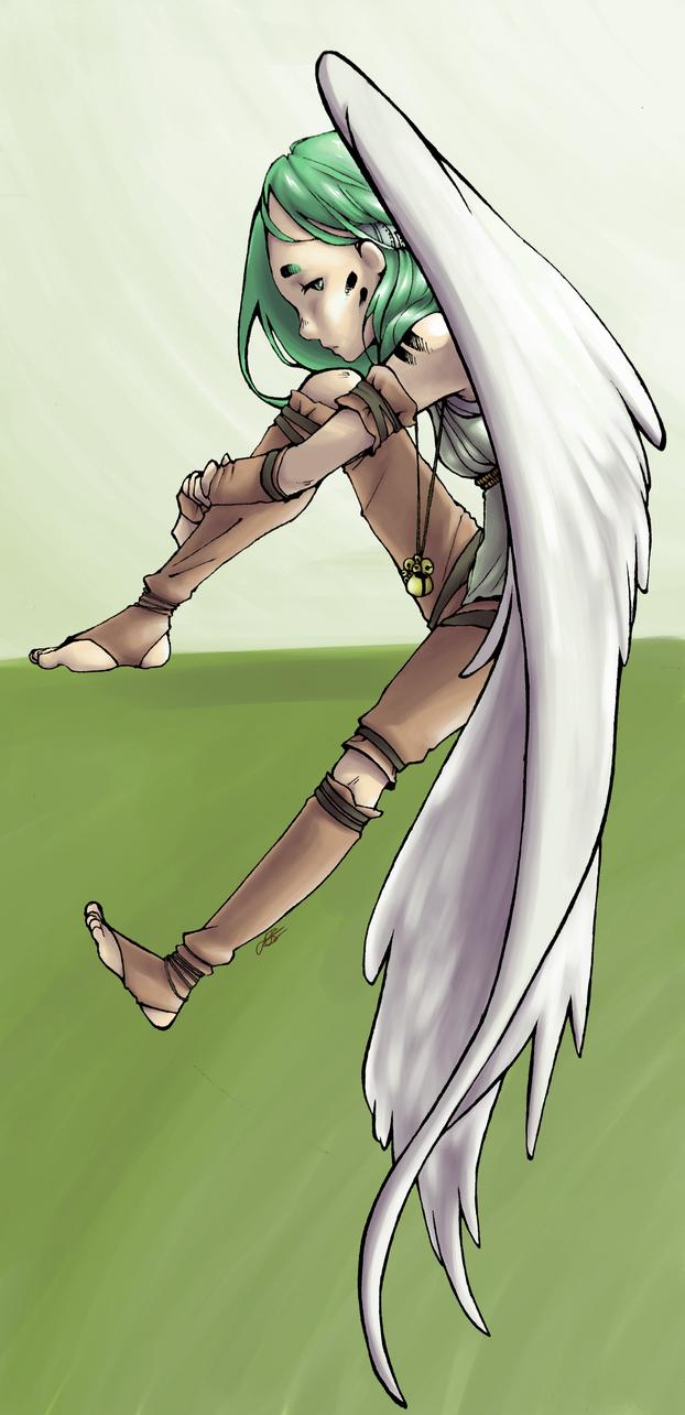 Sitting Angel by LilFleur