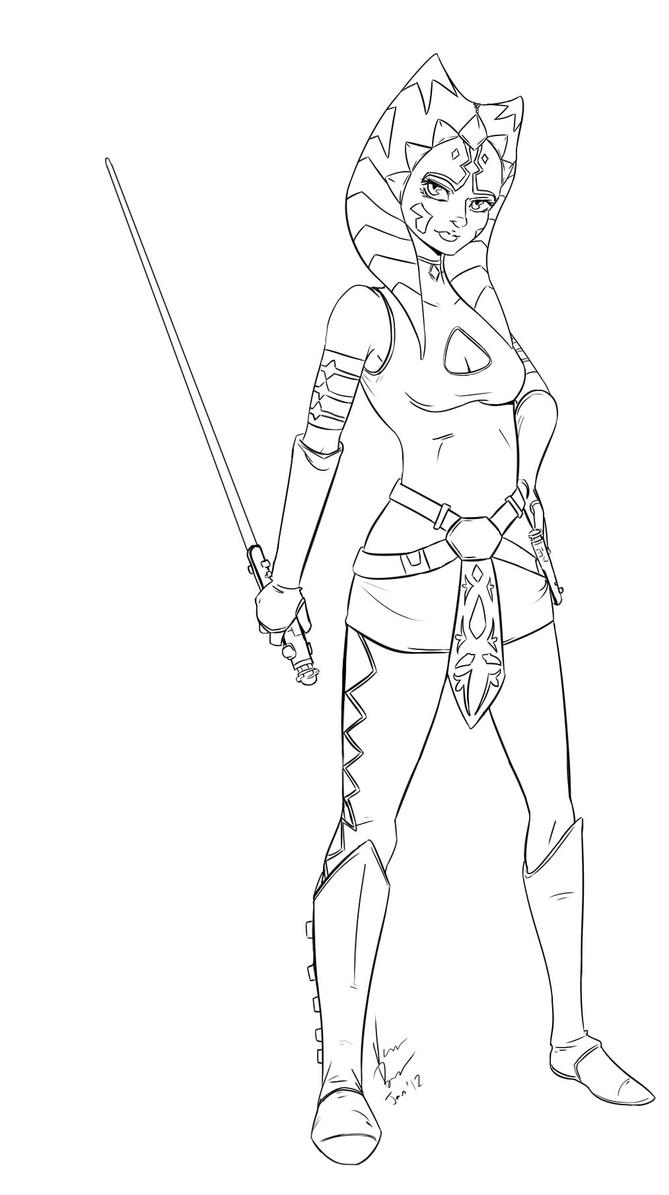 Ahsoka Line Art By Bobo Kitty On Deviantart Ahsoka Coloring Pages