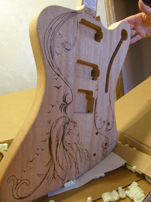 wood burned guitar body by FlYGiRl118