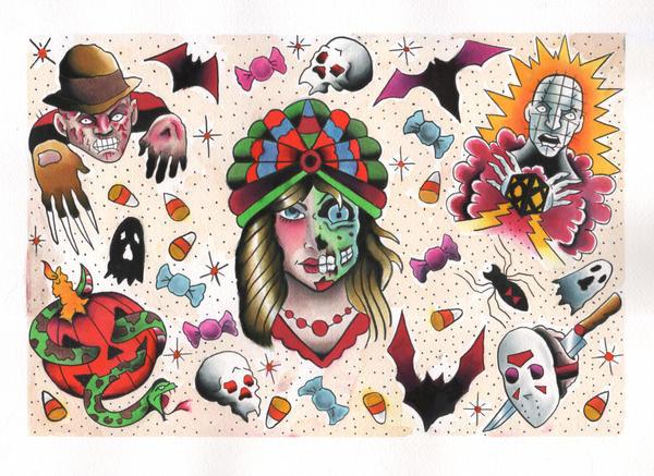 Halloween tattoo flash by jaimie13 on DeviantArt