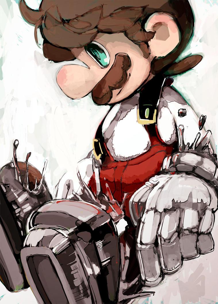 Fire Mario transforms into Metal Mario. by Uroad7 by Uroad7
