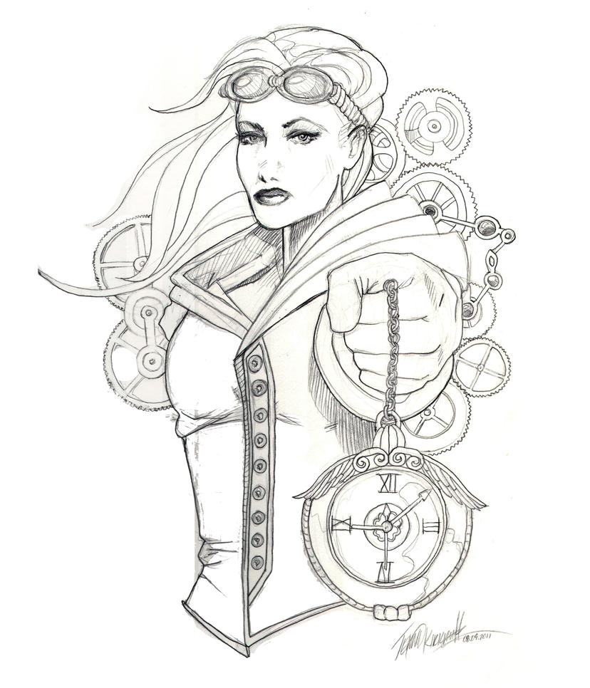 victorian steampunk coloring pages - photo#24