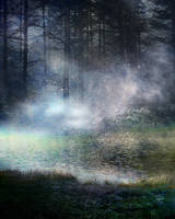 Foggy lake stock BG by Moonglowlilly