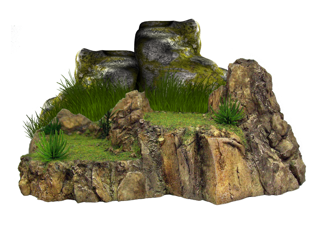 Png Grassy Rock by Moonglowlilly