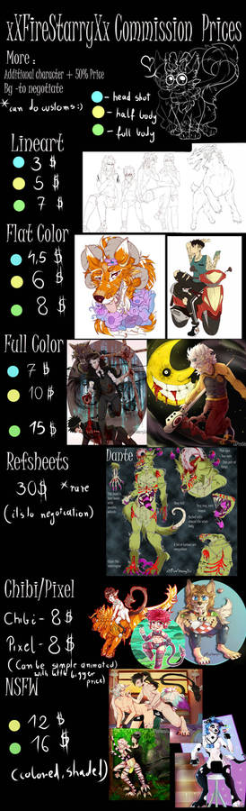 CommCOMMISSIONS PRICE LIST(open)NEW PRICES
