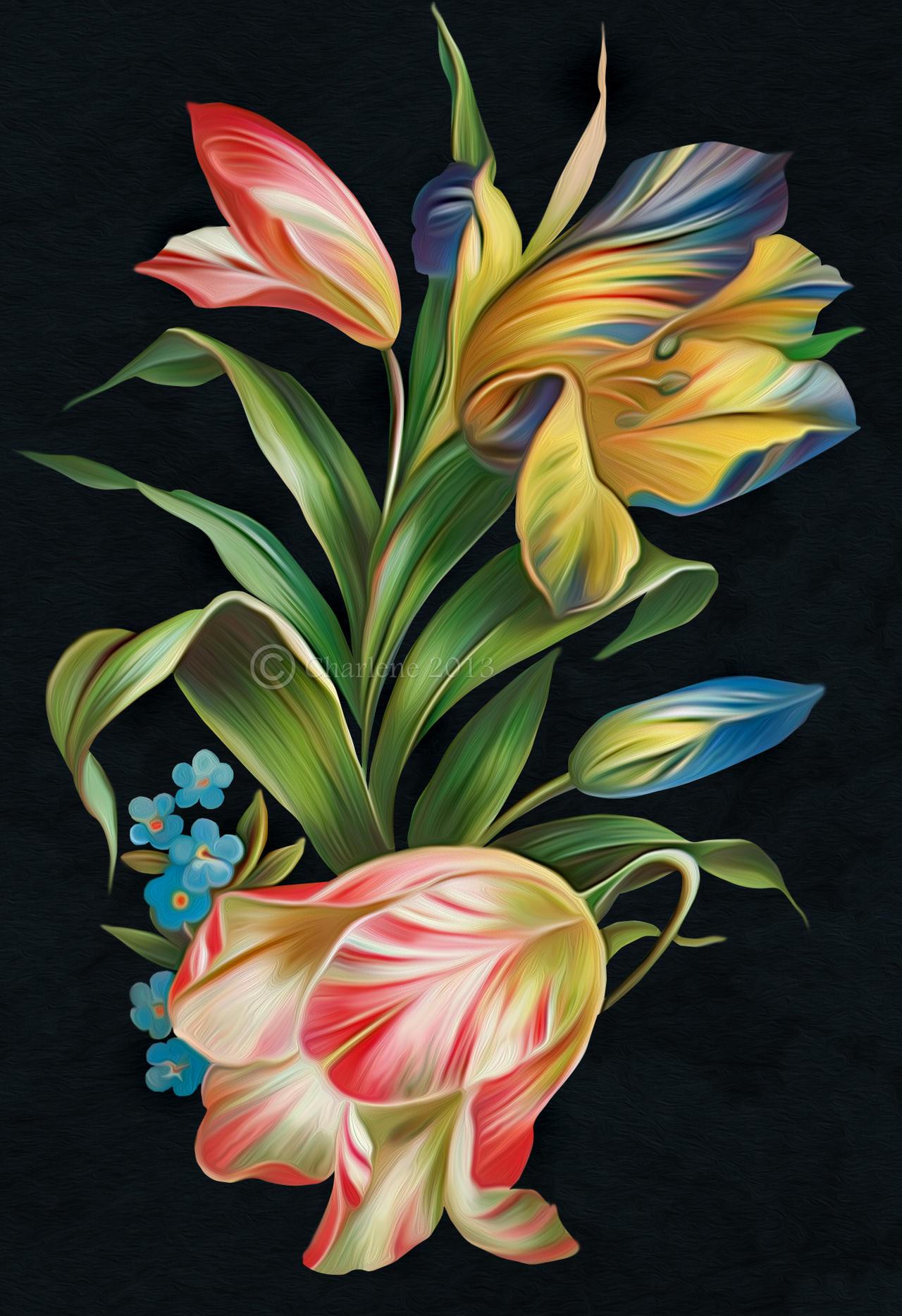 Acrylic Painting Floral Landscape