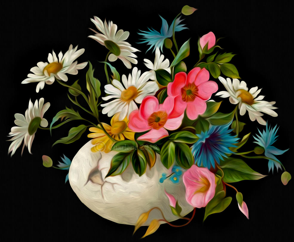 Oil Painting Flower Vase Antique
