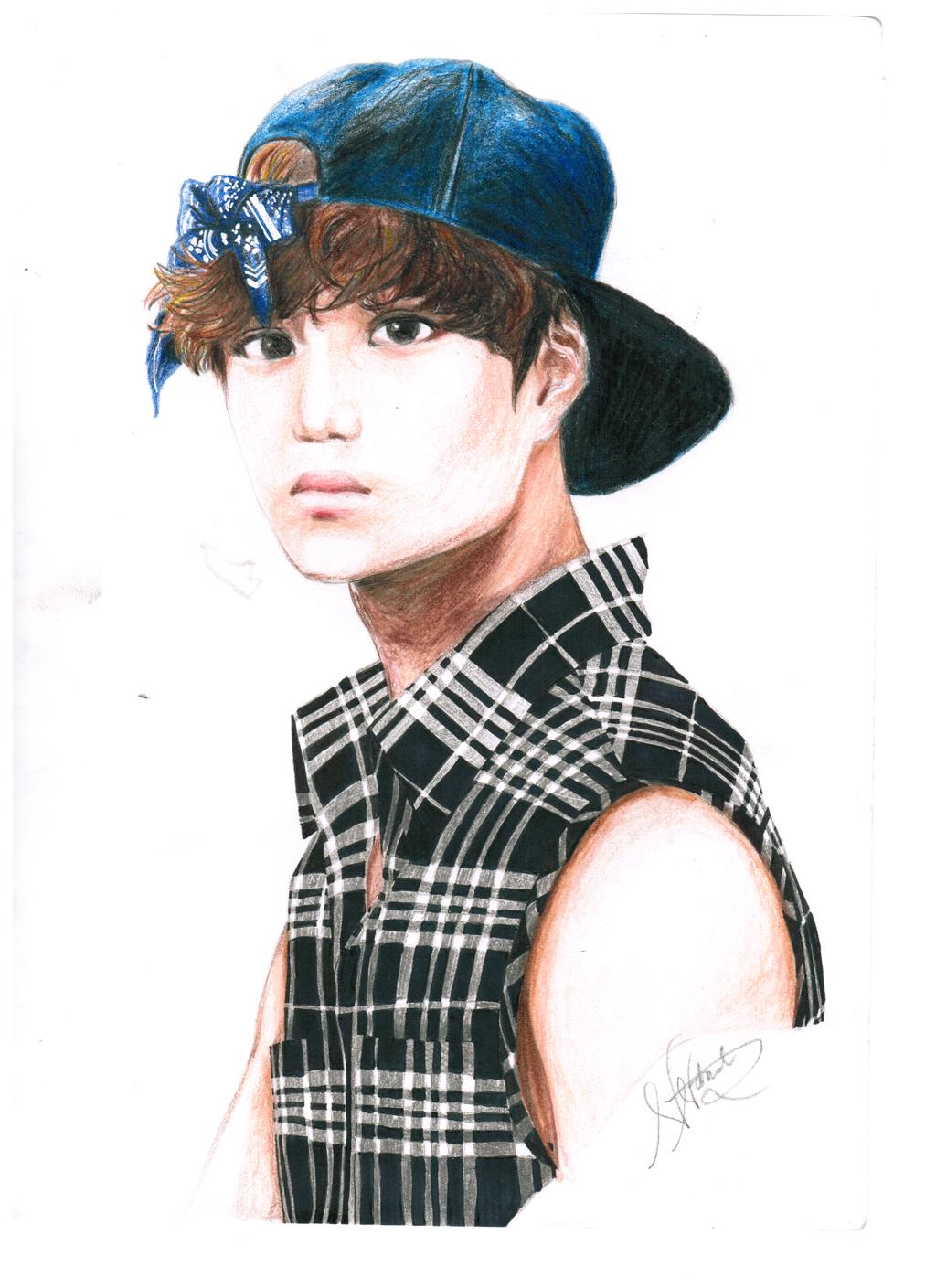 EXO Kai (plaid shirt) Fan Art by exoticbluepandas on ... Exo Kai Fanart