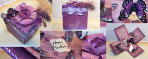 Purple Fascinator Exploding Box