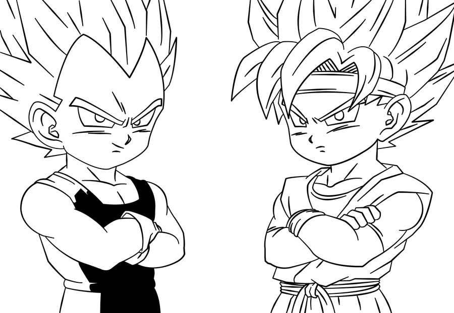 Baw vegeta jr and goku jr by drabounz on deviantart for Vegeta coloring pages