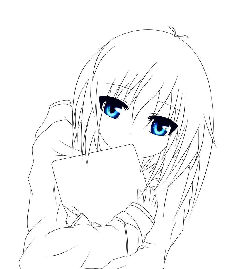 Shy Anime Girl LINEART By BlackLegendZz