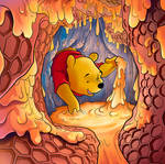 Pooh Getting Honey from a Hive