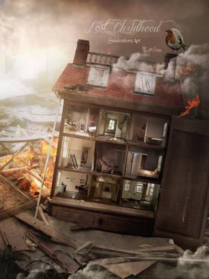 Lost Childhood - broken dollhouse by SoulcolorsArt