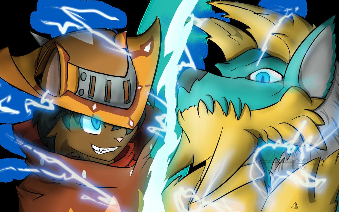 Lightning cat VS Thunder wolf by Darkspines-00