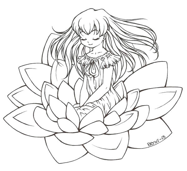 Line Drawing Water : Waterlily lineart by benyihs on deviantart