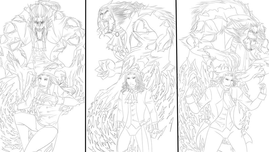 A Trio Of Werewolves (lineart for now) by HELLOmynameisMozart