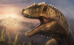 Giganotosaurus and sunset